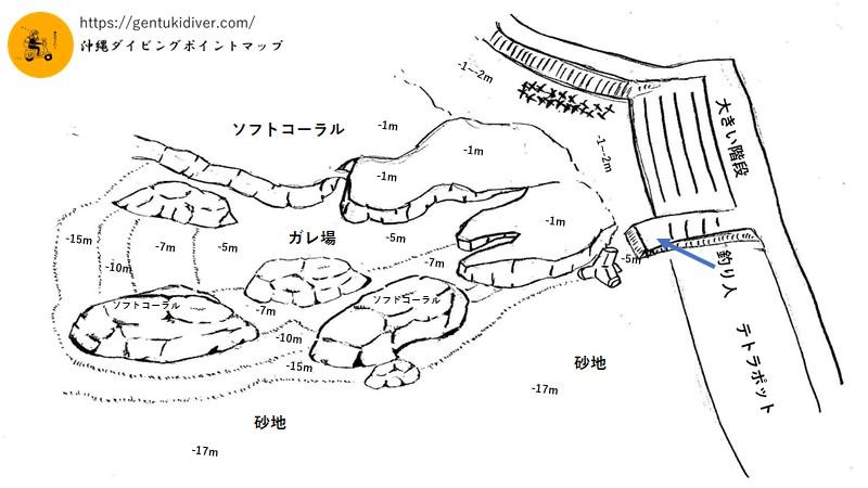 砂辺浄水場前の水中マップ